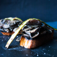 Creamy Mushrooms on toast recipe with shaved asparagus