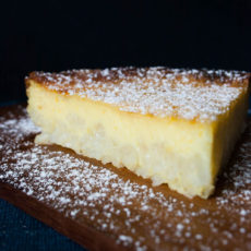 Layers of rice pudding and custard come together for this cake