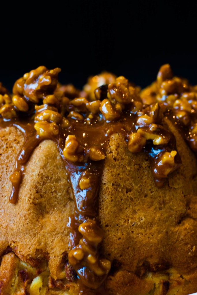 Caramel and walnuts top this apple cake recipe